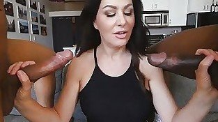 Amateur MILF gets 2 Big Black Dicks
