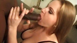 White Slut Sucks Big Black Dick