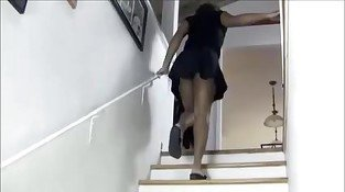 Ebony Hairy Queen In Stairs